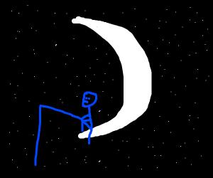 Sitting on Moon alone