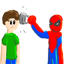 Spider-man mugging someone