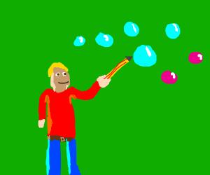 Boy drawing bubbles