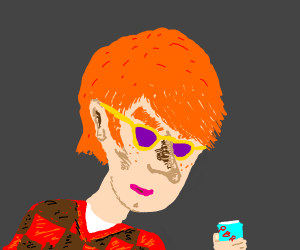 Hipster guy with orange hair and big eyebrows