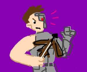 cyborg man with crossbow