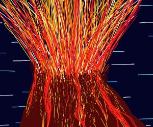 Haveroc's volcano at night