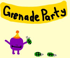 small purple dude has a grenade party