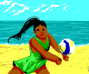 ducking from a beach vollyball