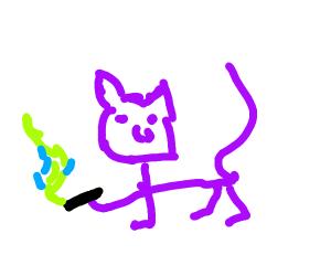 Purple cat smoking some weed