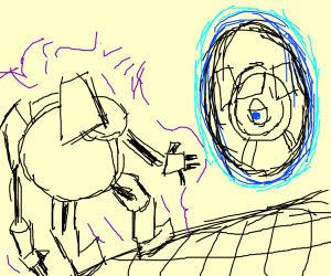 walking into strange portal