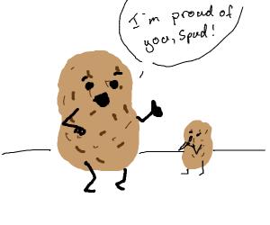 potato tells little potato he's proud of him