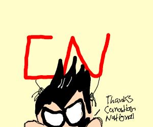 CN symbol giving Robin from TeenTitans masage