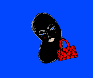 A black Bean with a red I purse