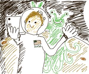 Alien photobombs astronaut's selfie