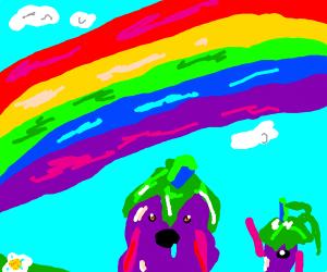 Eggplants admire a rainbow
