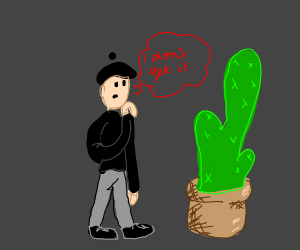 Man confused by catus
