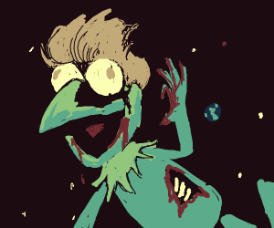 Zombie kermit with a nice wig in space