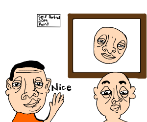 Man says nice to another man's artwork