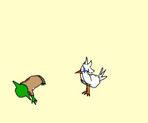 Chicken mourns Yoda