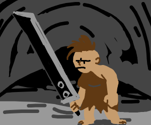 cavewoman with clouds blade