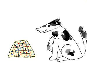 dog smiling and looking at scribble
