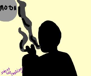 silhouetted man smoking