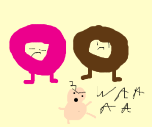 Mum pink donut &dad brown donut have mad baby