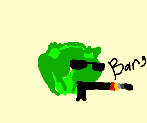 Lettuce is shooting with a gun!