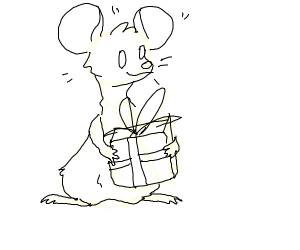 thicc mouse with thicc present. thicccccccccc