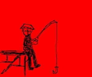 A fisherman fishing at a river