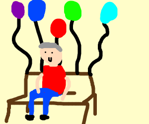Old man sitting on flying chair with balloons