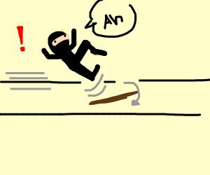 Fast ninja trips on stick