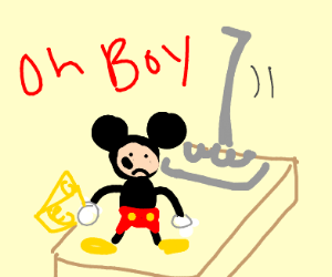 Mickey abou to get caught in a mouse trap