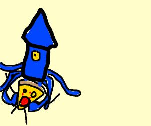 Squid eats living pizza