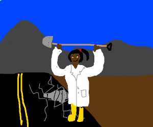 Scientist digging into the Road