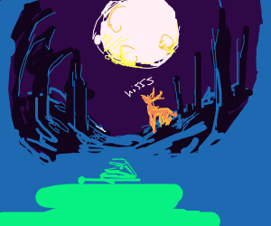 Deer Hissing By The Moon