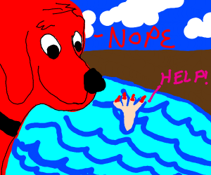Clifford the dog watches a girl to drown
