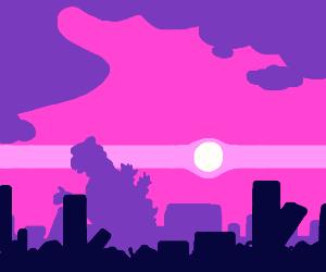Godzilla walking into a city at sunset
