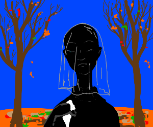 mourning black woman in autumn