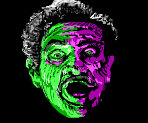 green and purple surprised face
