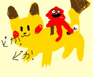 Elmo holding a lightbulb riding pikachu