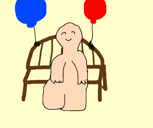 guy sitting on bench with balloons tied to it