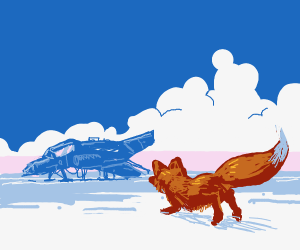 A Fox Racing To The Spaceship