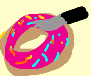 Stabbing a pink donut