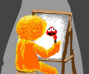 Yellmo Ross paints Elmo