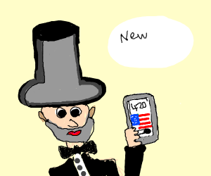 Abe lincoln with a flag background on a iPhon