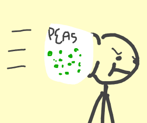 man gets hit by bunch of Peas