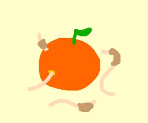 worms eating an orange