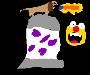 dog on lava lamp breathing fire yellmo