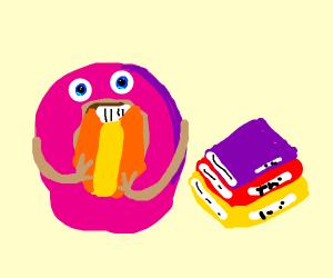 Doughnut reading a book