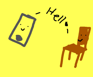 Phone and chair saying hello to each other