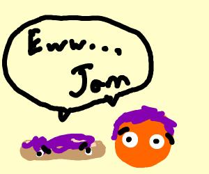 Jam on toast and orange juice