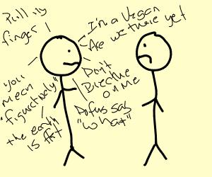 Stick figure agitates other stick figure