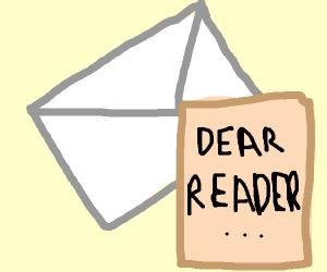 A letter in envelope reading Dear Reader,